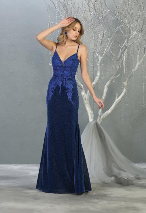 Rochie France Mode M1796 albastra lunga de seara sirena [0]