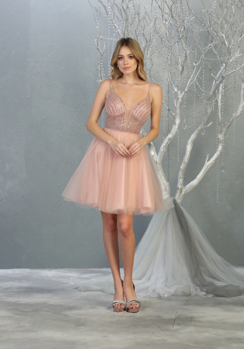 Rochie France Mode M1800 roz scurta de ocazie baby doll [0]