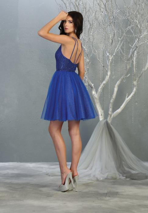 Rochie France Mode M1800 albastra scurta de ocazie baby doll [1]