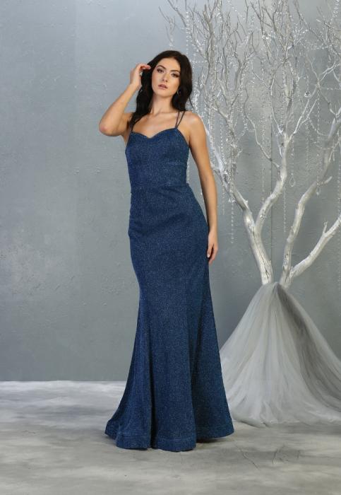 Rochie France Mode M1806 albastra lunga de seara sirena [0]