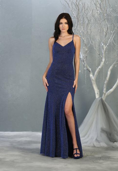 Rochie France Mode M1822 albastra lunga de seara mulata [0]