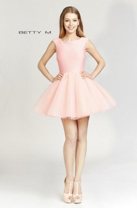 Rochie Betty M Ballerina roz pudrat scurta de cocktail baby doll 0
