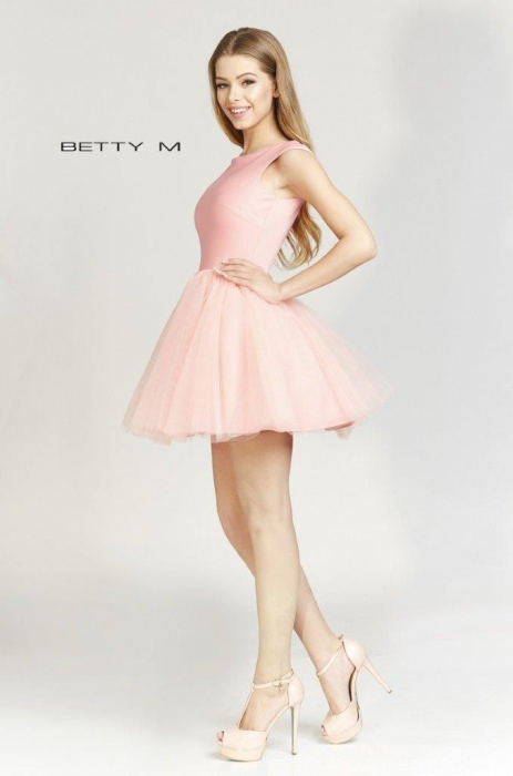 Rochie Betty M Ballerina roz pudrat scurta de cocktail baby doll 2