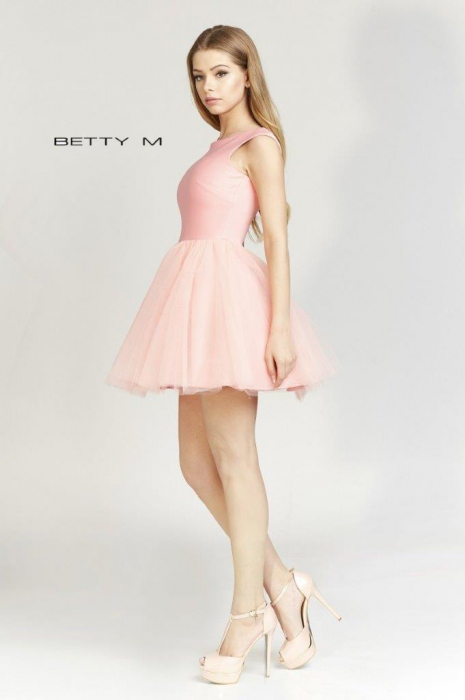 Rochie Betty M Ballerina roz pudrat scurta de cocktail baby doll 3
