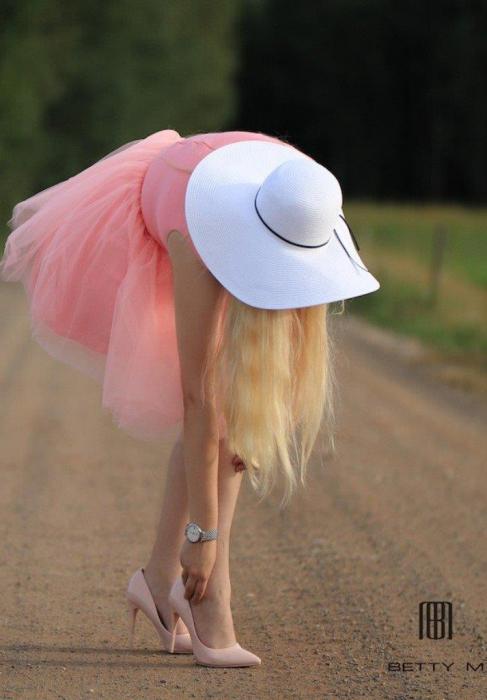 Rochie Betty M Ballerina roz pudrat scurta de cocktail baby doll 7
