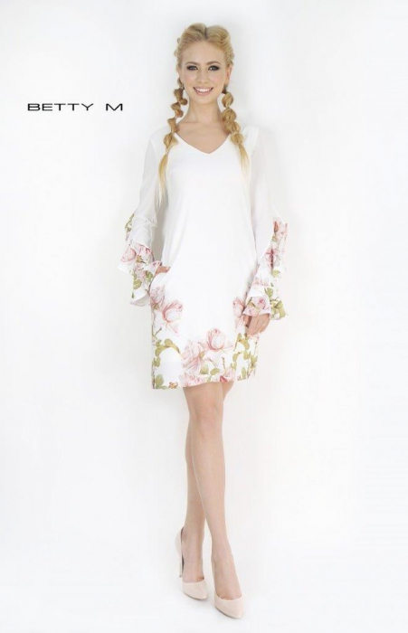 Rochie Betty M Become alba cu flori scurta de vara fluida 1