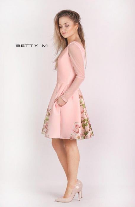 Rochie Betty M Casablanca roz cu flori scurta de vara baby doll 1