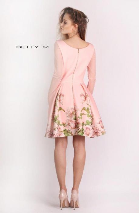 Rochie Betty M Casablanca roz cu flori scurta de vara baby doll 2