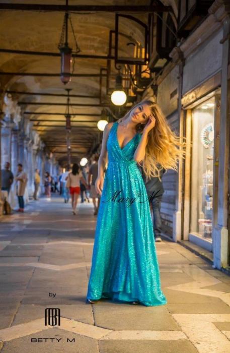 Rochie Betty M Celebrity turcoaz lunga de seara in clos 0