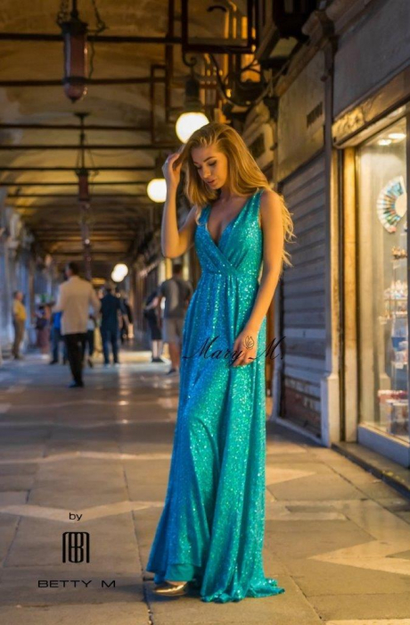 Rochie Betty M Celebrity turcoaz lunga de seara in clos 1