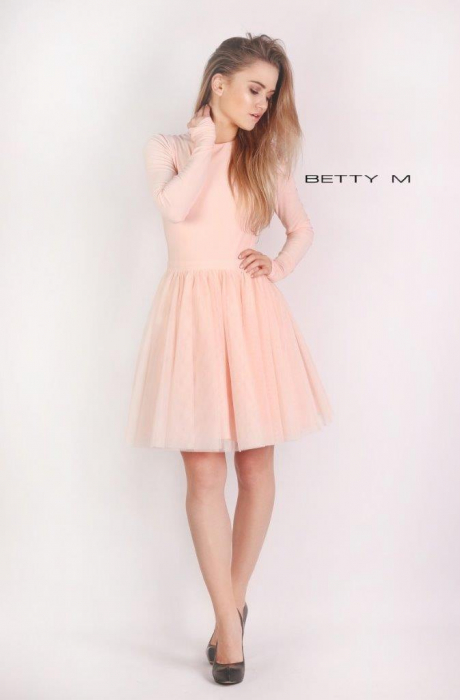Rochie Betty M Dusty Rose roz scurta de cocktail baby doll 0