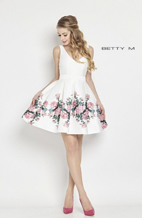 Rochie Betty M Happy Roses alba cu flori scurta de vara baby doll 0