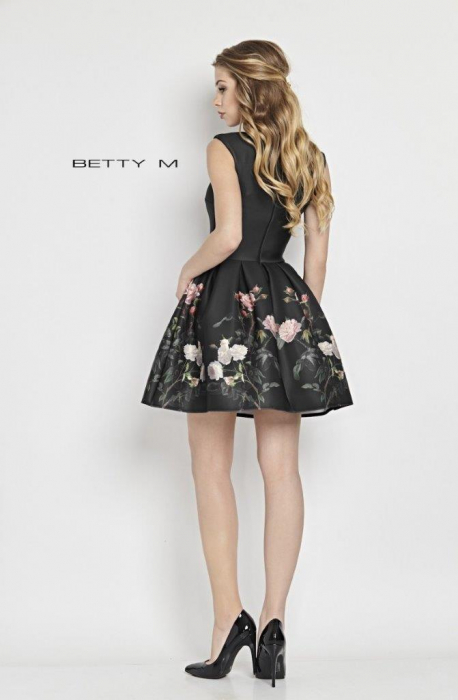 Rochie Betty M Evening Roses neagra cu flori scurta de vara baby doll 2