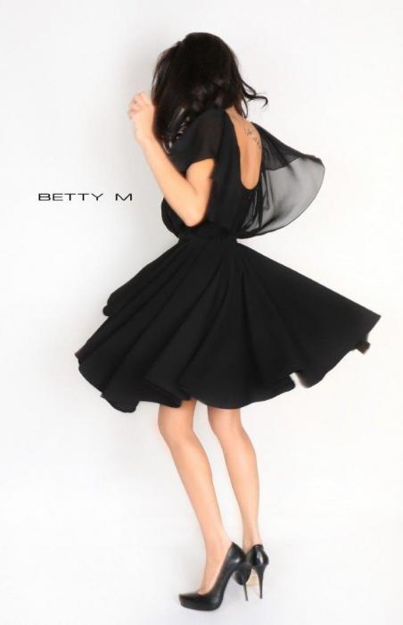 Rochie Betty M Flamingo neagra scurta de cocktail baby doll 6