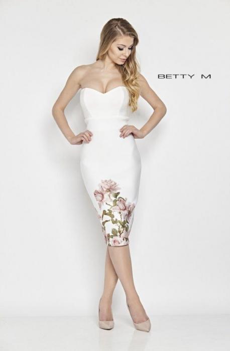 Rochie Betty M French alba cu flori midi de vara mulata 0