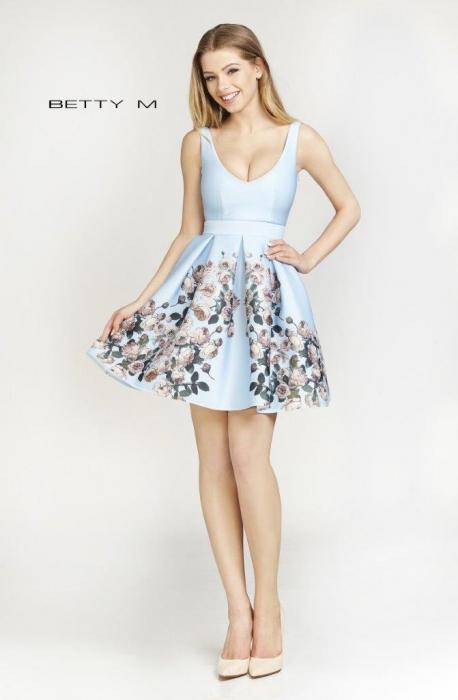 Rochie Betty M Happy Autumn bleu cu flori scurta de vara baby doll 0