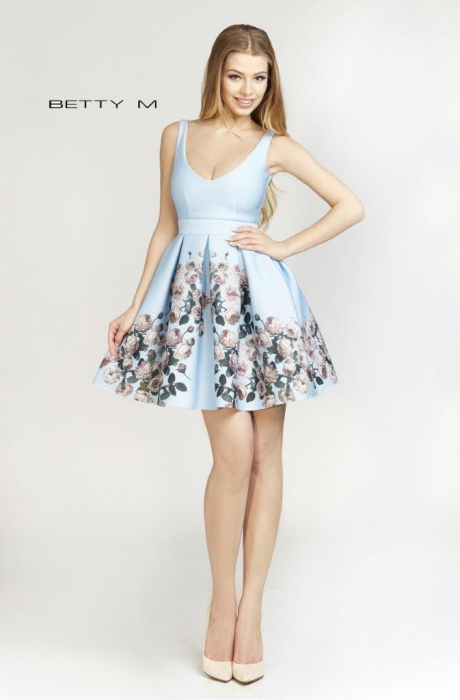 Rochie Betty M Happy Autumn bleu cu flori scurta de vara baby doll 1