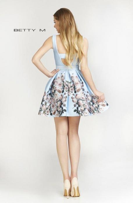Rochie Betty M Happy Autumn bleu cu flori scurta de vara baby doll 2