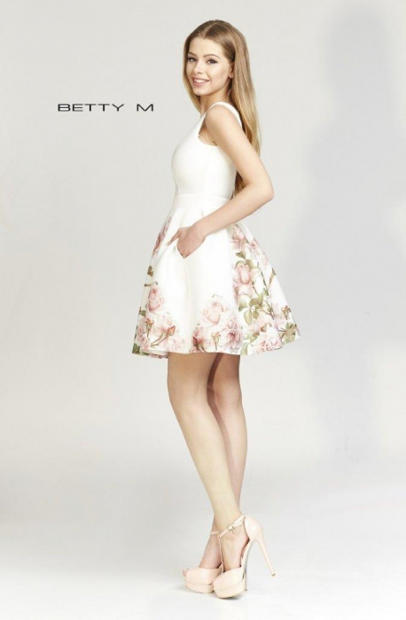 Rochie Betty M Happy Day Bis alba cu flori scurta de vara baby doll 2