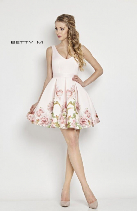 Rochie Betty M Happy Day alba cu flori scurta de vara baby doll 0