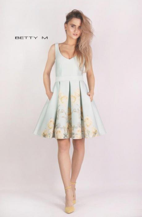 Rochie Betty M Happy Sky bleu cu flori galbene scurta de vara baby doll 0