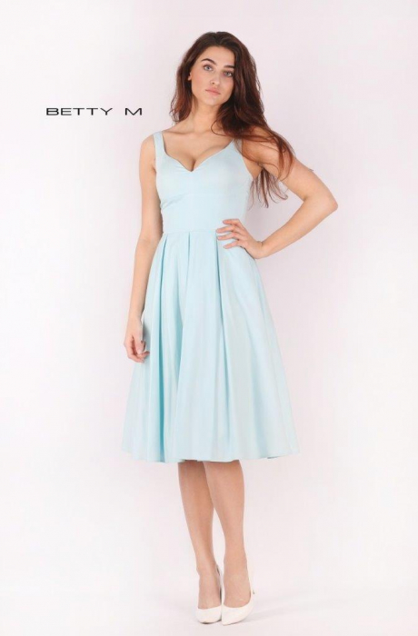 Rochie Betty M Ivent bleu midi de cocktail baby doll 1