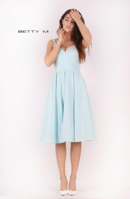 Rochie Betty M Ivent bleu midi de cocktail baby doll 2