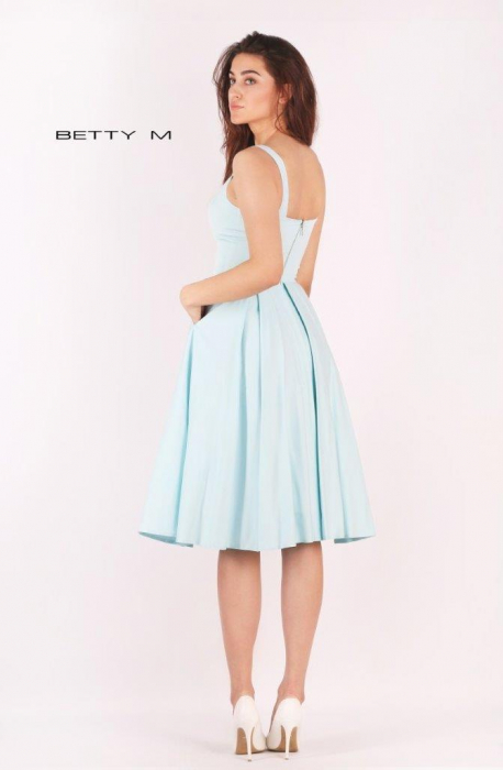 Rochie Betty M Ivent bleu midi de cocktail baby doll 5