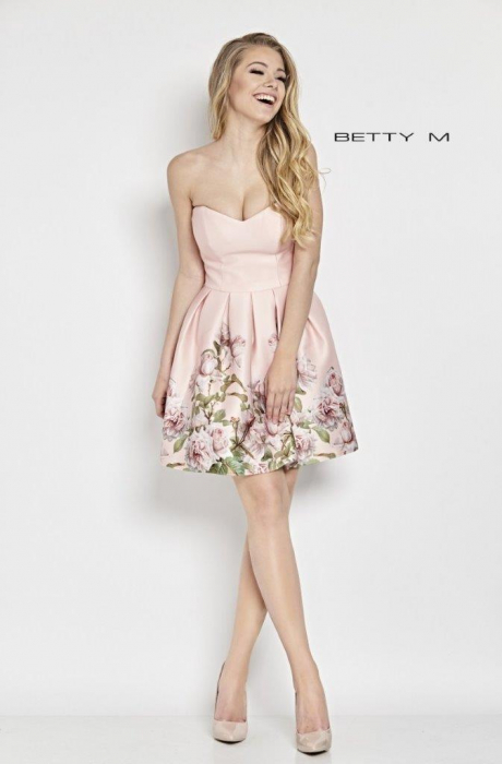 Rochie Betty M Kiss roz cu flori scurta de vara baby doll 1