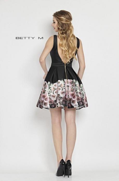 Rochie Betty M Mallow neagra cu flori scurta de vara baby doll 2