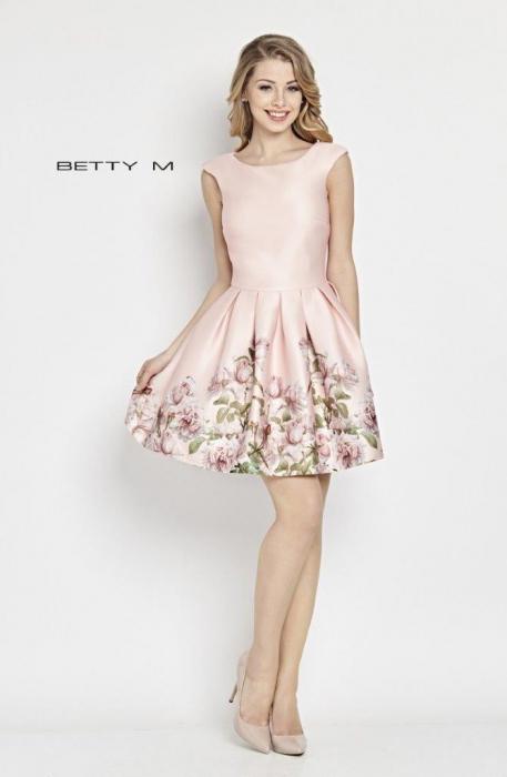 Rochie Betty M Matinee roz cu flori scurta de vara baby doll 0