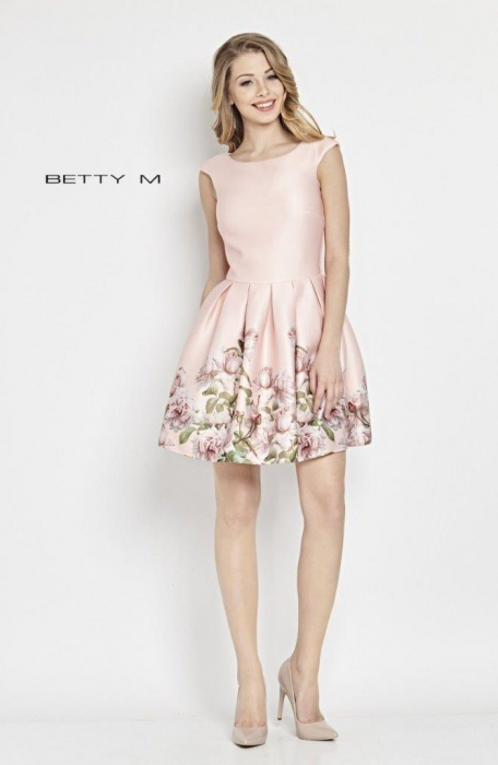 Rochie Betty M Matinee roz cu flori scurta de vara baby doll 1