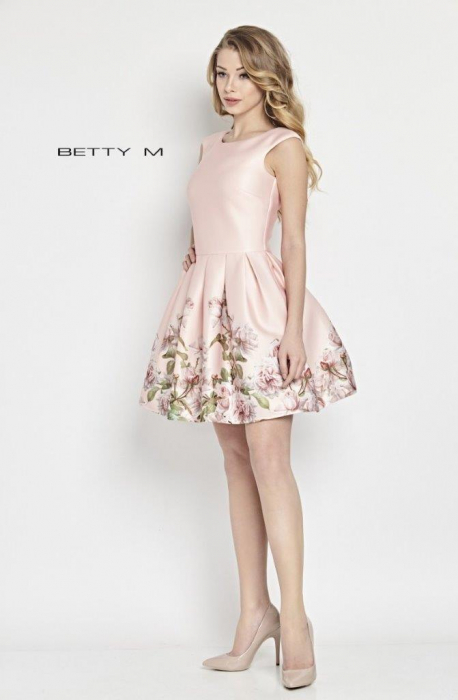 Rochie Betty M Matinee roz cu flori scurta de vara baby doll 2