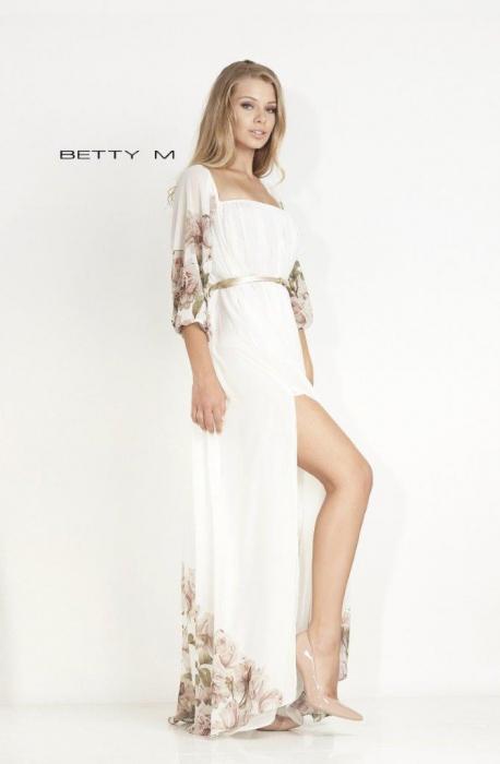 Rochie Betty M Mistery Long alba cu flori lunga de seara larga 1