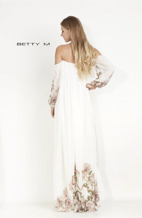 Rochie Betty M Mistery Long alba cu flori lunga de seara larga 3
