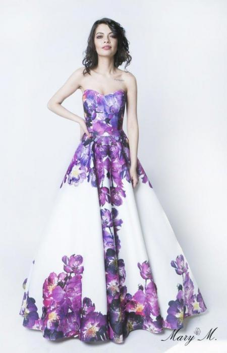 Rochie Betty M Pansy alba cu flori lunga de seara tip princess 0