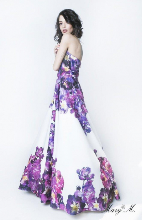 Rochie Betty M Pansy alba cu flori lunga de seara tip princess 1