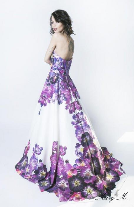 Rochie Betty M Pansy alba cu flori lunga de seara tip princess 2
