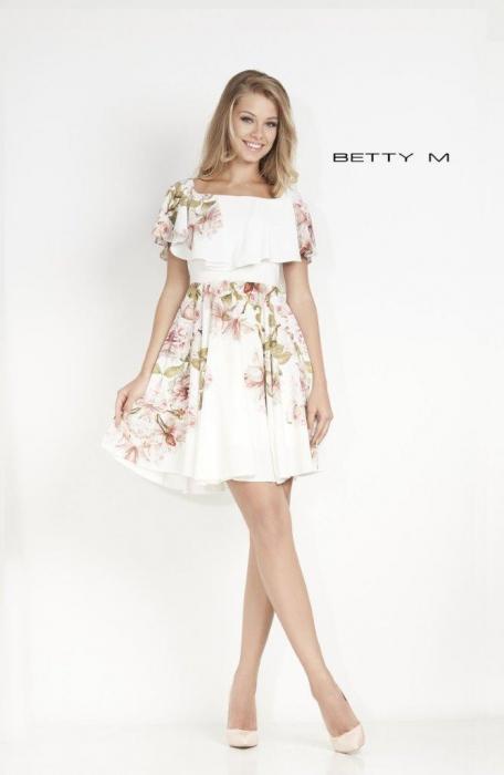 Rochie Betty M Passionate alba cu flori scurta de vara in clos 0