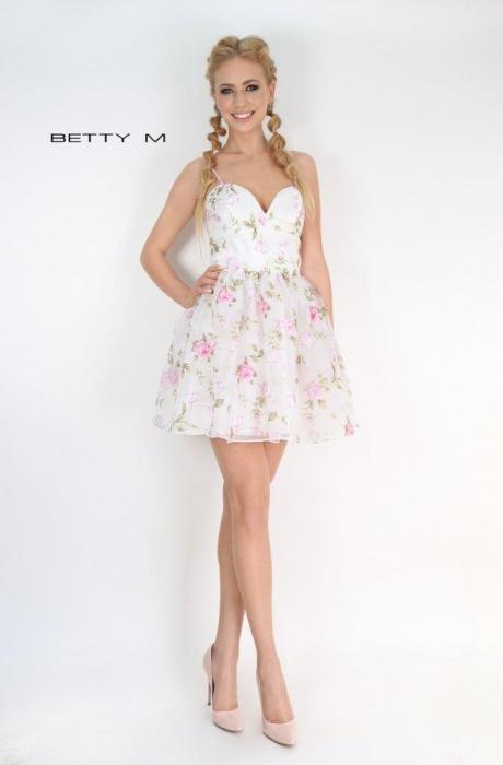 Rochie Betty M Primavera alba cu flori scurta de vara baby doll 0