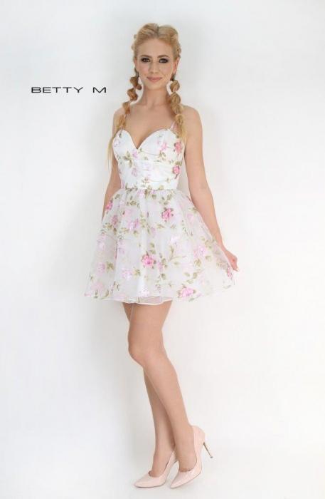 Rochie Betty M Primavera alba cu flori scurta de vara baby doll 1