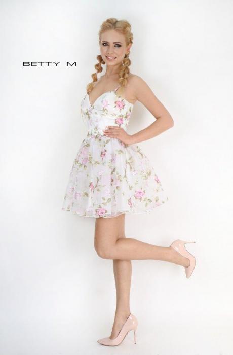 Rochie Betty M Primavera alba cu flori scurta de vara baby doll 2