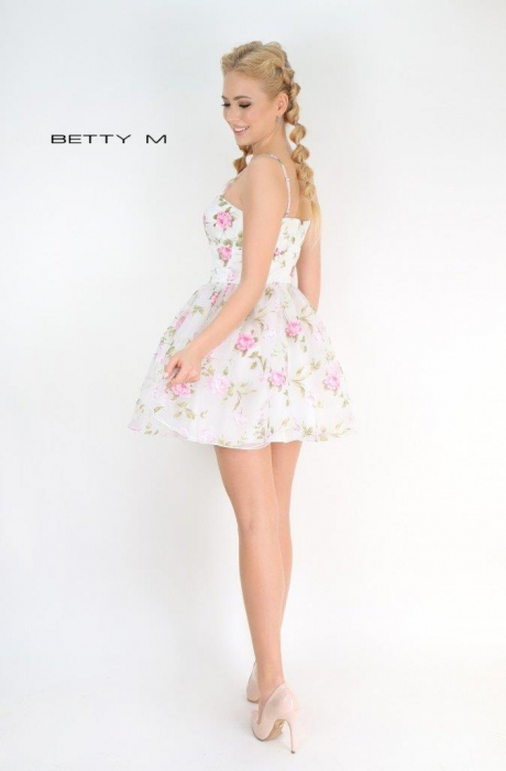 Rochie Betty M Primavera alba cu flori scurta de vara baby doll 3