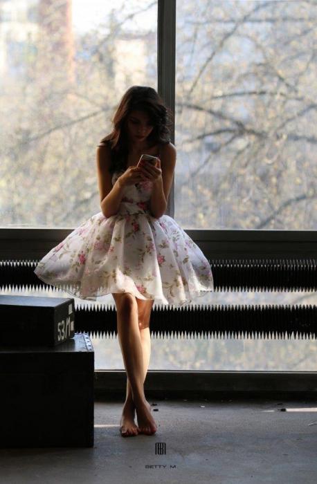 Rochie Betty M Primavera alba cu flori scurta de vara baby doll 4