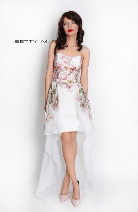 Rochie Betty M Queen Rosa alba cu flori scurta in fata de vara in clos 1