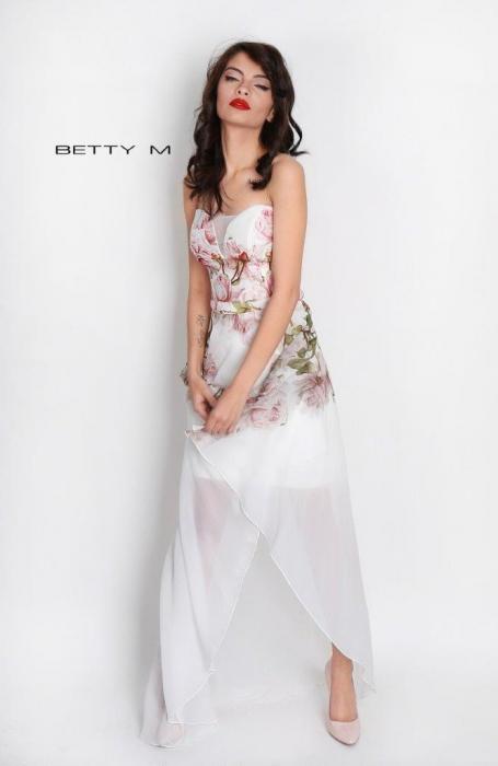 Rochie Betty M Queen Rosa alba cu flori scurta in fata de vara in clos 4