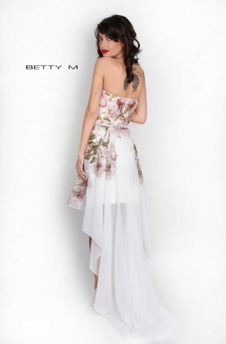 Rochie Betty M Queen Rosa alba cu flori scurta in fata de vara in clos 7