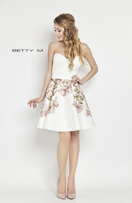 Rochie Betty M Tweet alba cu flori scurta de vara baby doll 0