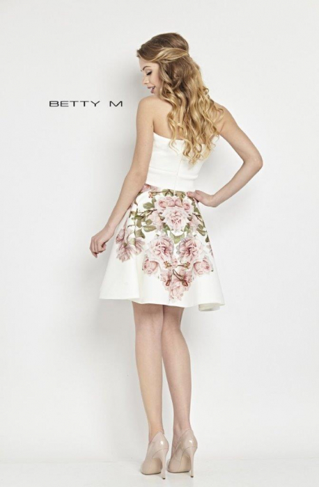 Rochie Betty M Tweet alba cu flori scurta de vara baby doll 3