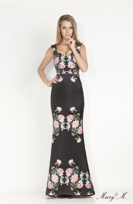 Rochie Betty M Venice neagra cu flori lunga de seara tip sirena 1